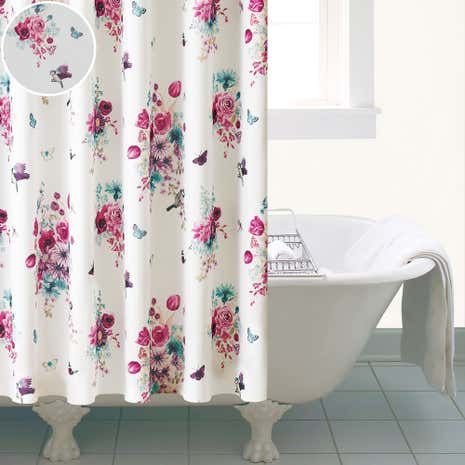 bathroom curtain. flora and fauna shower curtain bathroom
