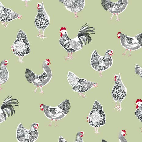 Sage Rooster PVC Fabric