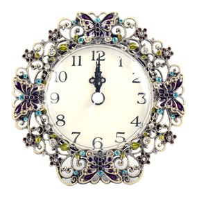 Flora and Fauna Jewelled Butterfly Clock