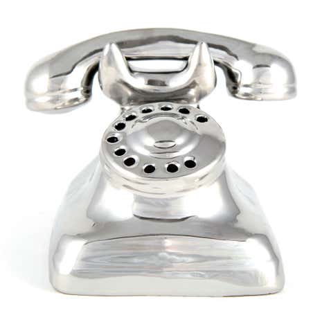 Silver Jazz Age Ceramic Telephone