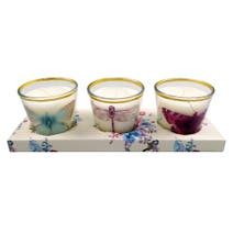 Flora and Fauna Set of 3 Votive Candles