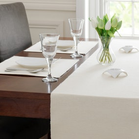 Cream Ribbed Table Runner