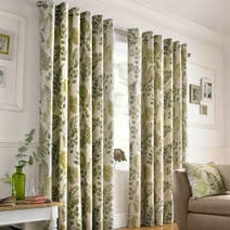 Green New Forest Lined Eyelet Curtains