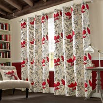 Poppyfield Red Lined Eyelet Curtains