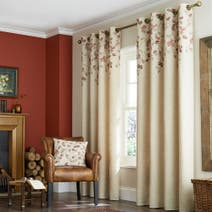 Natural Autumn Leaves Lined Eyelet Curtains