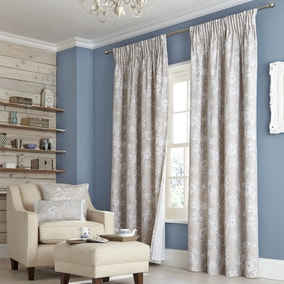 Chateau Natural Lined Pencil Pleat Curtains