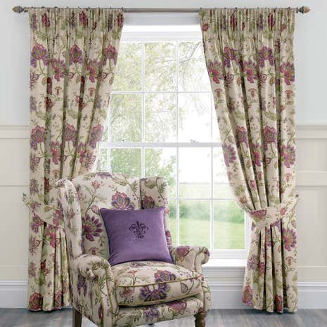 Dorma Bloomsbury Plum Lined Pencil Pleat Curtains