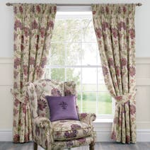 Dorma Plum Bloomsbury Lined Pencil Pleat Curtains