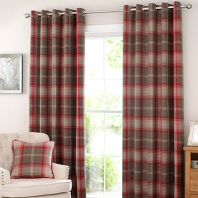 Highland Check Red Lined Eyelet Curtains