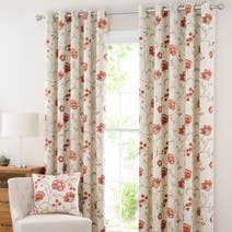 Rust Liberty Lined Eyelet Curtains