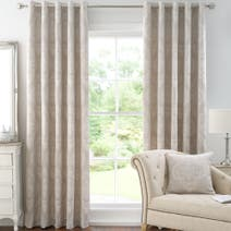Natural Seraphina Lined Eyelet Curtains