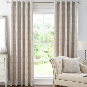 Seraphina Natural Lined Eyelet Curtains