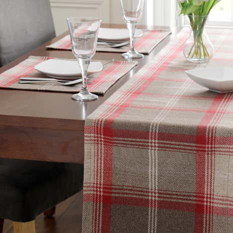 Highland Check Red Table Runner