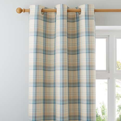 Balmoral Duck-Egg Lined Eyelet Curtains