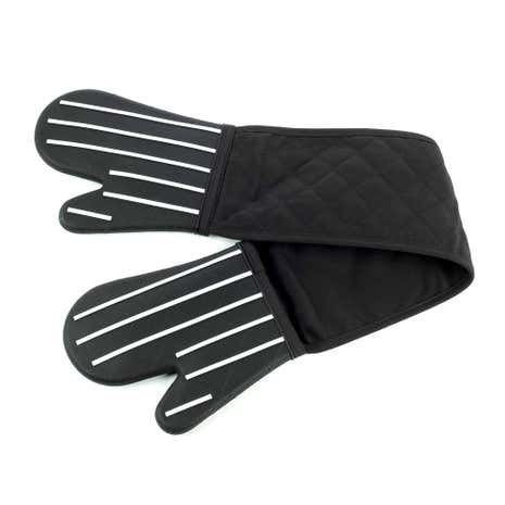 Black Striped Silicone Double Oven Glove