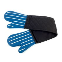Navy Striped Silicone Double Oven Glove