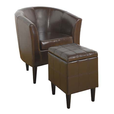 Milan Leather Tub Chair and Footstool