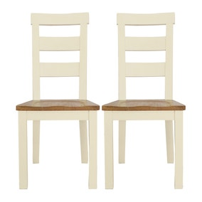 Loxley Cream Pair of Dining Chairs