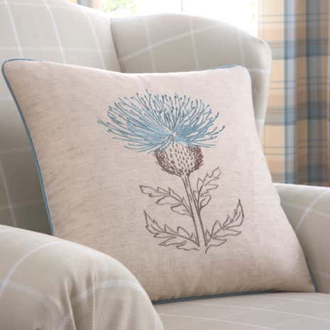 Balmoral Duck-Egg Thistle Cushion