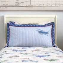 Dorma Vintage Plane Blue Oxford Pillowcase