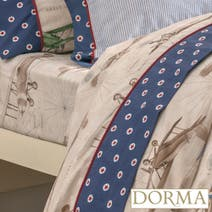 Dorma Vintage Plane Blue 25cm Fitted Sheet