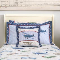Dorma Blue Vintage Plane Cushion