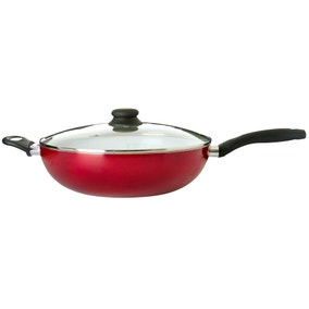 Red Ceramic Lidded Wok