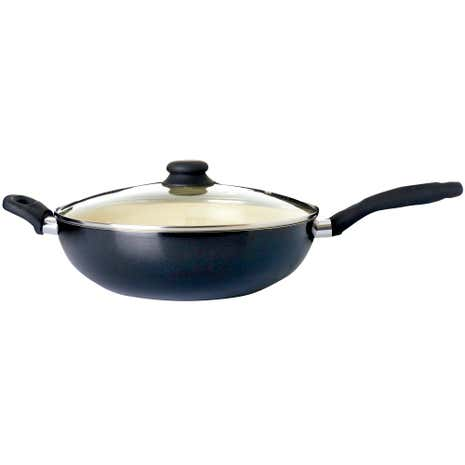 Black Ceramic Lidded Wok
