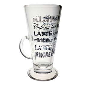 Printed Word Latte Glass