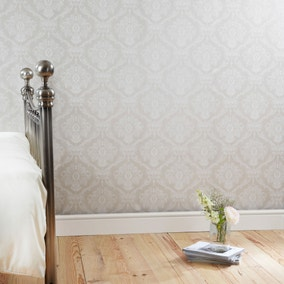 Dorma Aveline Natural Damask Wallpaper