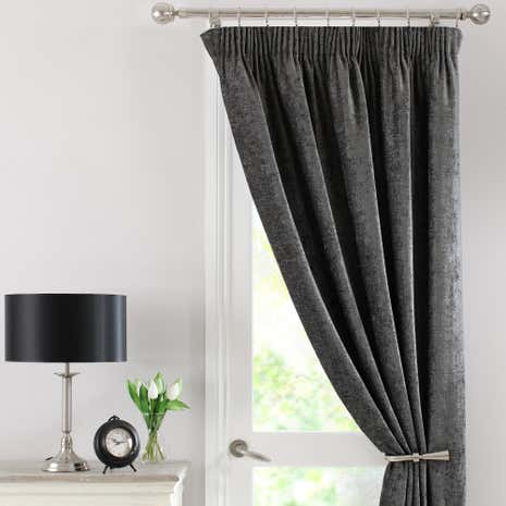 Grey Chenille Thermal Pencil Pleat Door Curtain