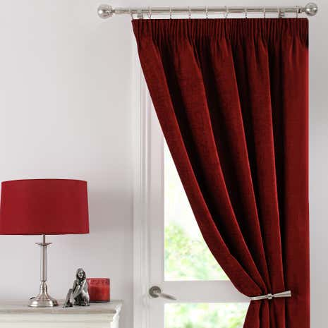 Red Chenille Thermal Pencil Pleat Door Curtain
