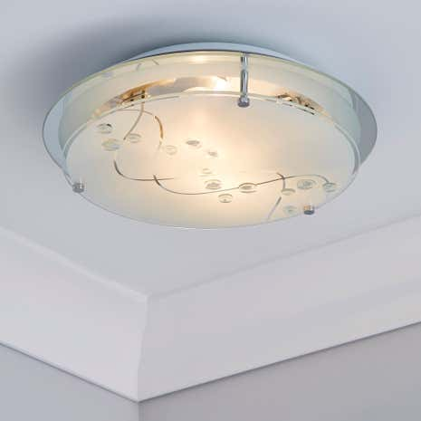 Beaded White Round Flush 2 Light Fitting