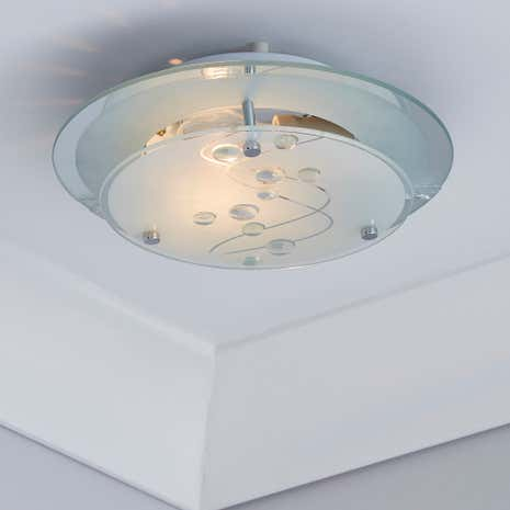 Beaded White Round Flush Light Fitting