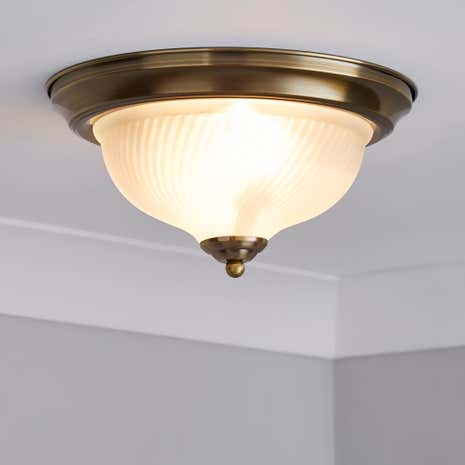 Antique Brass Frosted Flush Light Fitting