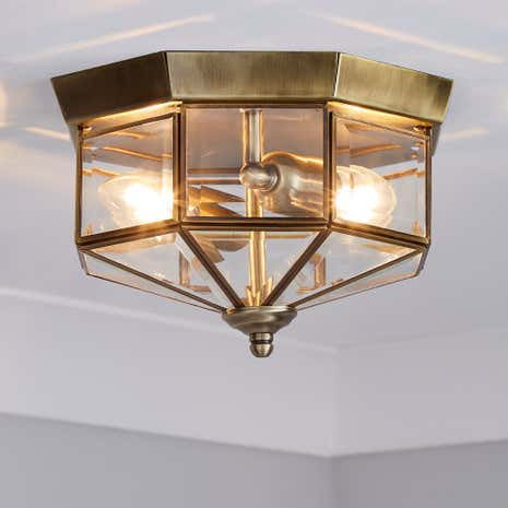 Antique Brass Flush Light Fitting