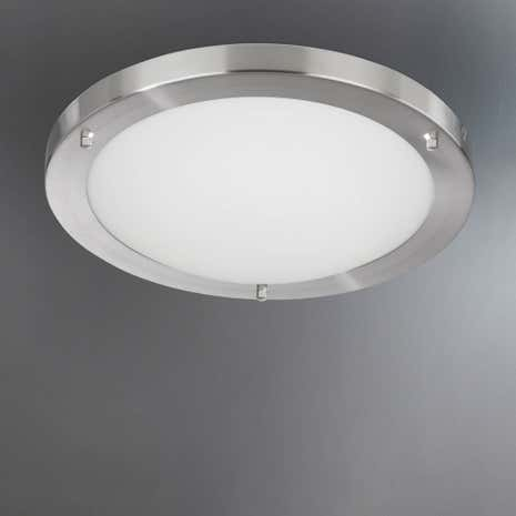 Satin Silver Flush Light Fitting
