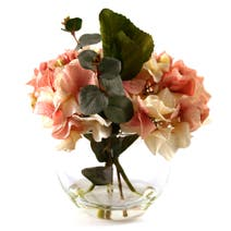 Dorma Artificial Hydrangea and Eucalyptus in a Glass Bowl