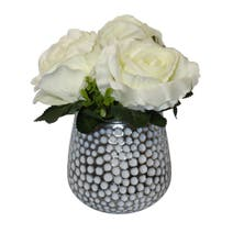 White Carnations in Dimpled Glass Vase
