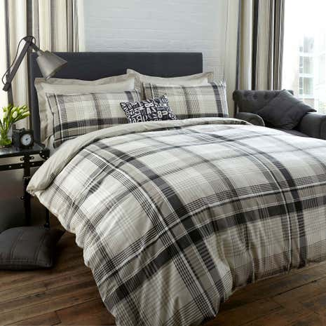 Salvage Check Grey Duvet Cover and Pillowcase Set