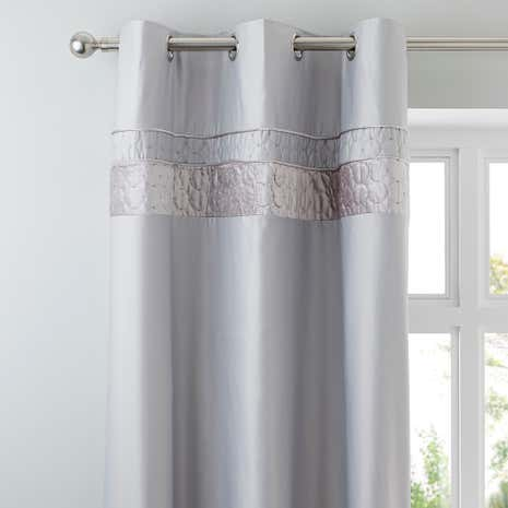 Vienna Silver Thermal Eyelet Curtains