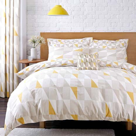Elements Skandi Geometric Yellow Reversible Duvet Cover And Pillowcase Set Dunelm