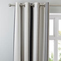 Grey Salvage Check Thermal Eyelet Curtains