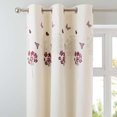 Hydrangea Plum Thermal Eyelet Curtains