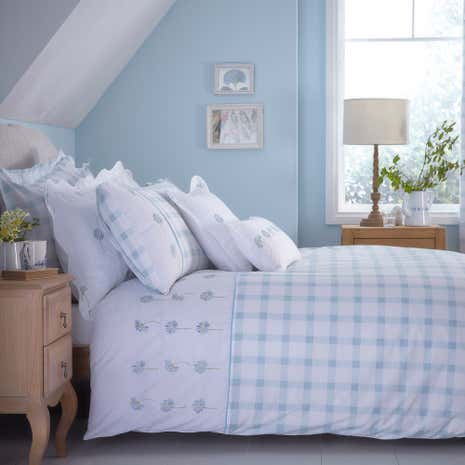 daisy emboridered duck egg duvet cover dunelm. Black Bedroom Furniture Sets. Home Design Ideas