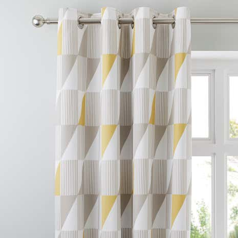 Skandi Geo Yellow Thermal Eyelet Curtains