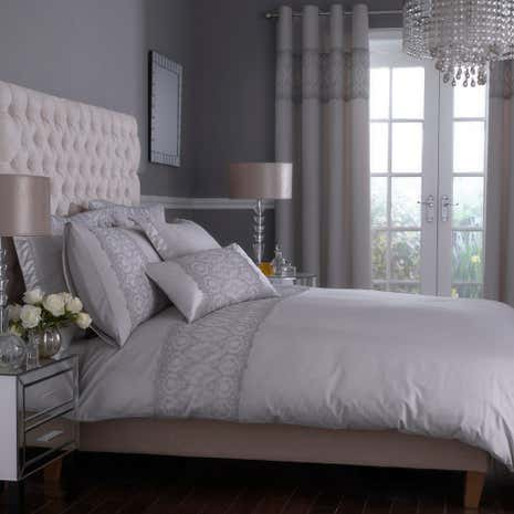 claudia embroidered grey duvet cover dunelm. Black Bedroom Furniture Sets. Home Design Ideas