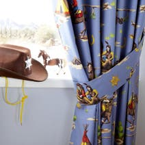 Kids Blue Cowboys and Indians Blackout Pencil Pleat Curtains