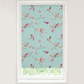 Beautiful Birds Duck-Egg Blackout Roller Blind