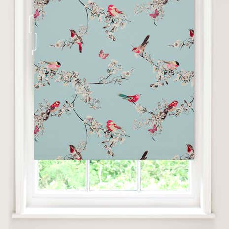Duck Egg Beautiful Birds Blackout Cordless Roller Blind